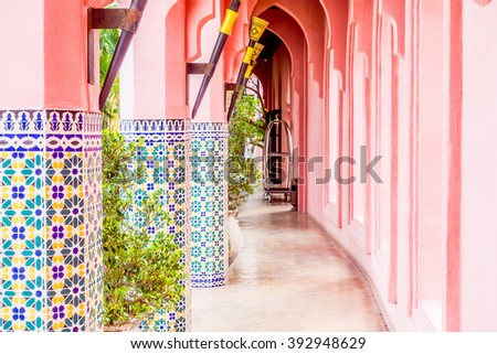 Beautiful Architecture and lantern light lamp with morocco style - Vintage Filter - stock photo