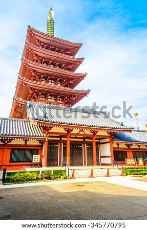 Beautiful Architecture in Sensoji Temple around Asakusa area at Japan