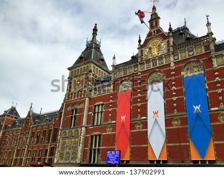 Beautiful architecture of Amsterdam, Netherlands. - stock photo