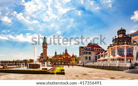 Beautiful architecture of Sopot at morning, Poland. - stock photo