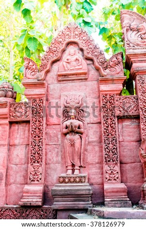 Beautiful architecture Traditional Thai style church - stock photo