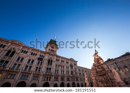beautiful architectures of Trieste, Italy, with the City Hall in Piazza Unit�� d'Italia in a spring morning - stock photo