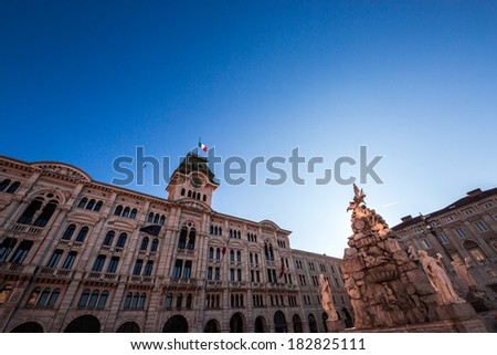 beautiful architectures of Trieste, Italy, with the City Hall in Piazza Unita d'Italia in a spring morning - stock photo