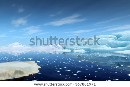 Beautiful arctic scene with a big iceberg and mountains in the background. - stock photo