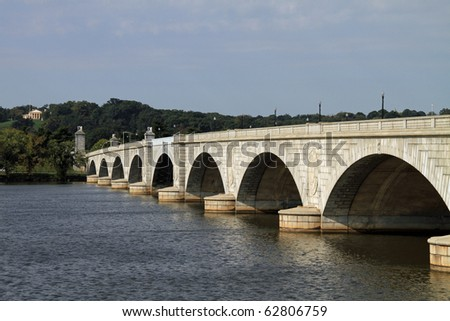 Beautiful Arlington memorial Bridge and Potomac River in Washington, DC - stock photo