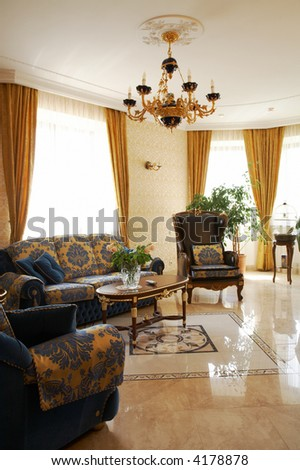 Beautiful armchair in a room to rich hotel - stock photo