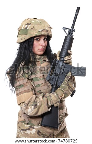 Beautiful army girl with rifle isolated on white