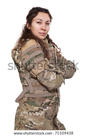 Beautiful army girl with rifle isolated on white - stock photo