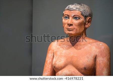 beautiful art statuette form ancient egypt the scriba - stock photo