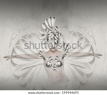 Beautiful artistic image representing a female like a sculpture - stock photo