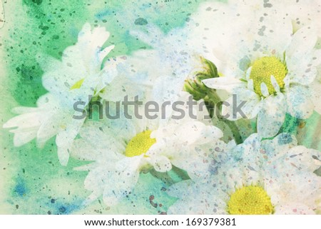beautiful artwork with chamomile's flower and green watercolor splashes - stock photo