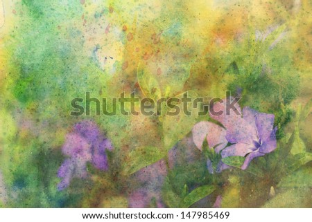beautiful artwork with cute lilac flowers and splashes of watercolor - stock photo