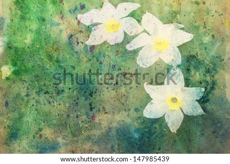 beautiful artwork with white cute flowers and splashes of watercolor - stock photo