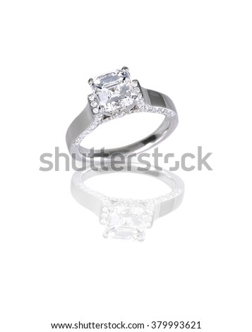 Beautiful Ascher Cut diamond engagement wedding ring set in platinum, silver or white gold