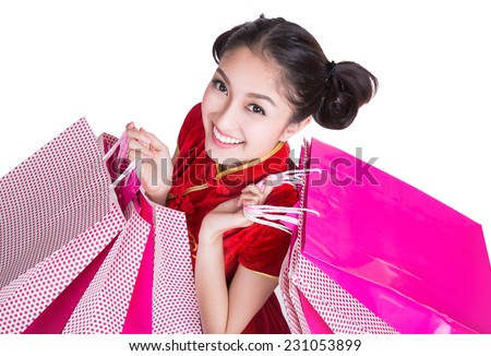 Beautiful Asia girl happy smile and shopping (clipping part for easy to use) - stock photo