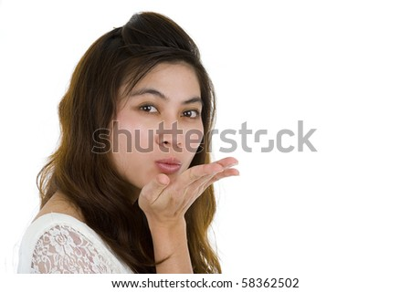 beautiful asia woman blowing a kiss, isolated on white background - stock photo