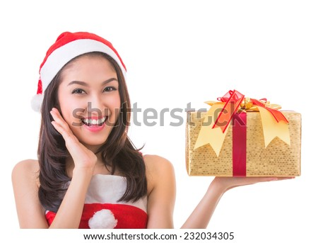 Beautiful Asia woman wear Santa Clause costume, christmas girl happy smile hold new year gift box present, in isolated on white background - stock photo
