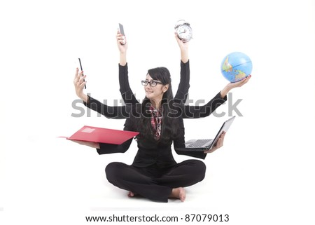 Beautiful asian business woman looking confident with six arms - stock photo