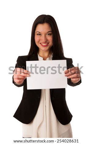 Beautiful asian business woman pointing into copy space - sales person advertising a product isolated