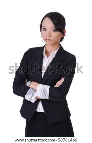 Beautiful Asian businesswoman with formal suit, closeup portrait on white background. - stock photo