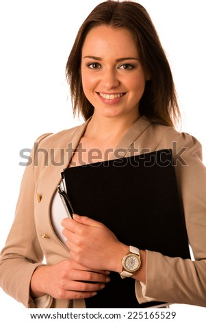 beautiful asian caucasian woman holds a folder isolated