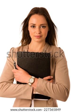 beautiful asian caucasian woman holds a folder isolated - stock photo