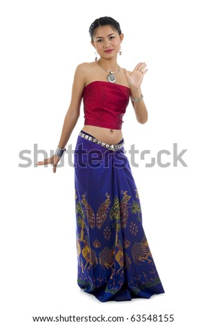 beautiful asian dancing in traditional clothes, isolated on white background - stock photo