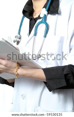 Beautiful Asian Doctor Closeup - stock photo