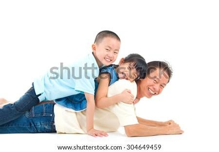 Beautiful asian family - stock photo