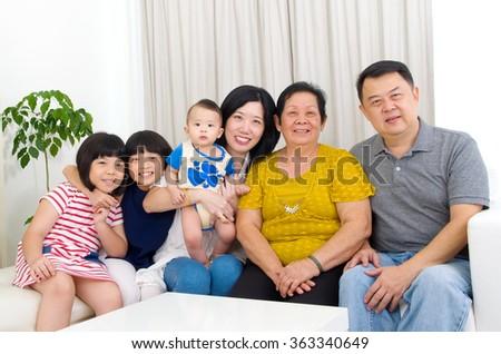 Beautiful asian 3 generations family - stock photo