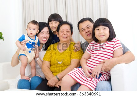 Beautiful asian 3 generations family - stock photo