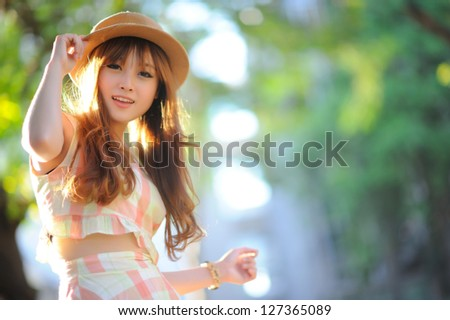 Beautiful asian girl - stock photo