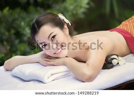 Beautiful Asian girl and spa