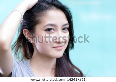 Beautiful asian girl portrait - stock photo