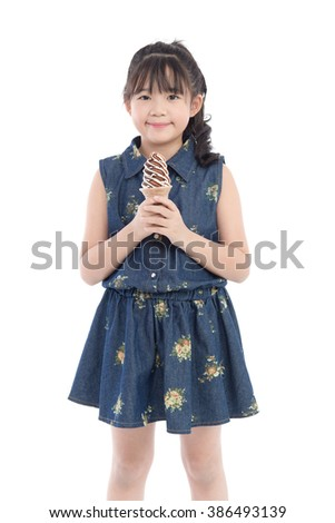 Beautiful Asian girl with ice cream on white background isolated - stock photo