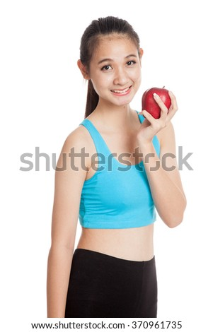 Beautiful Asian healthy girl hate whey protein  isolated on white background