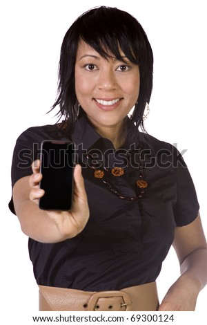 Beautiful Asian-Hispanic Woman Holding a Cell Phone - Isolated Background