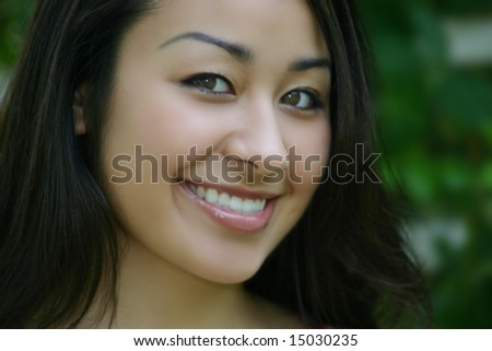 Beautiful asian lady smiling, Happiness Joy