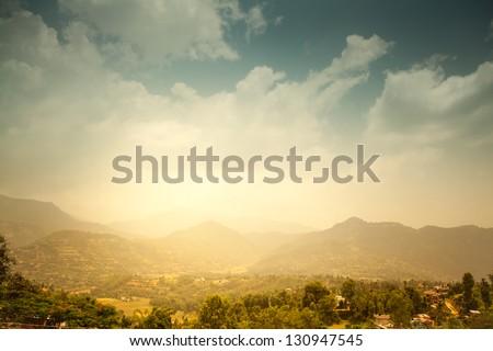 Beautiful Asian landscape, bright colors, pristine nature. Nepal - stock photo