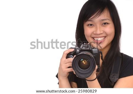 Beautiful Asian Model with camera - stock photo