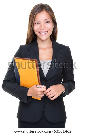 Beautiful asian real estate agent businesswoman waist up isolated on white background. - stock photo