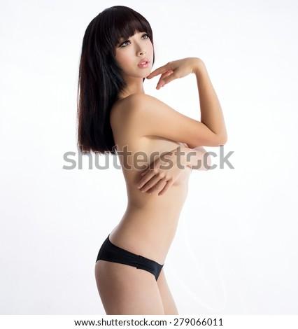 beautiful asian sexy underware girl model - stock photo