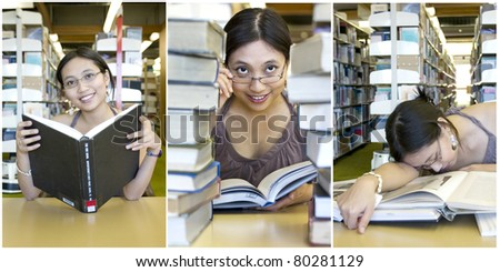 Beautiful Asian student working on her assignments - stock photo