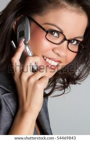 Beautiful asian telephone woman talking - stock photo