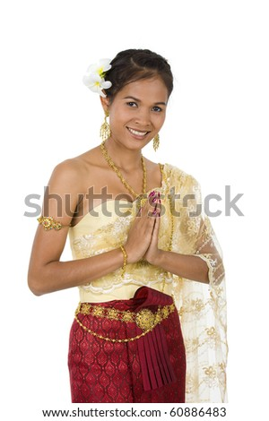 beautiful asian with welcome expression, isolated on white - stock photo