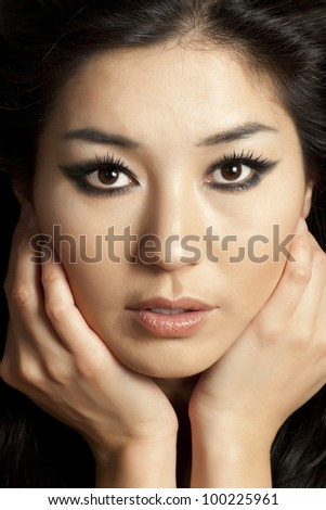 Beautiful asian woman face with grey background