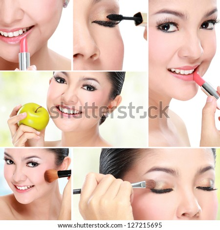 Beautiful asian woman face with smile for skincare, cosmetic, beauty hygiene, makeup, moisturize - stock photo