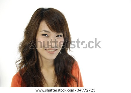 Beautiful asian woman happy and smiling - stock photo