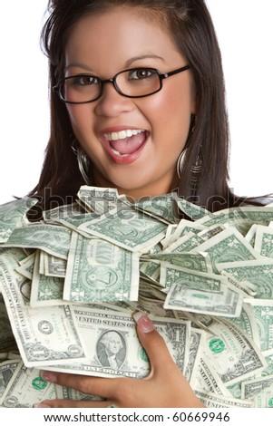 Beautiful asian woman holding money - stock photo