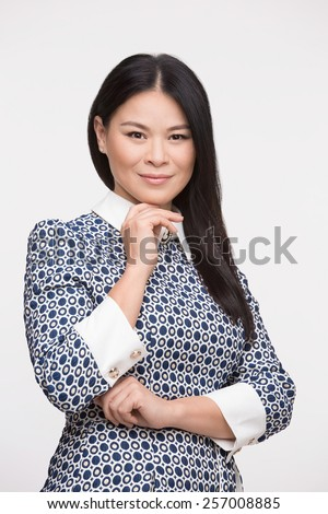 Beautiful asian woman isolated on white background - stock photo